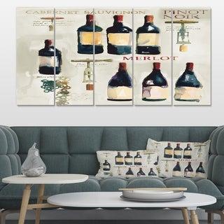 Designart 'Red Sauvignon Wine Collage' Food and Beverage Canvas Art