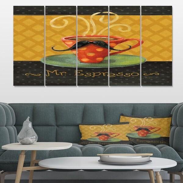 Designart 'Kitchen Cafe Moustache III' Kitchen Canvas Art