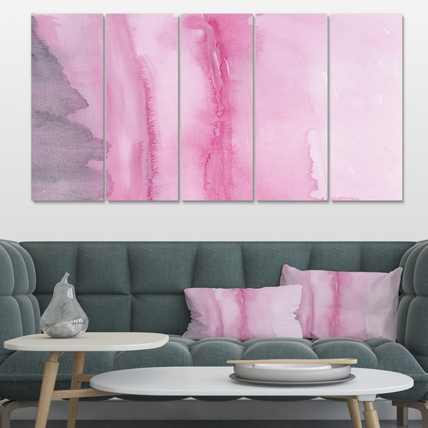 Designart 'Pink Handpainted Abstract Watercolor' Shabby Chic Canvas Artwork