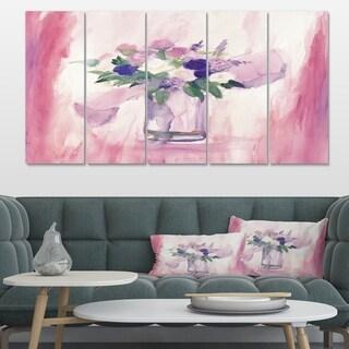 Designart 'Pink Flower Handpainted Still Life' Shabby Chic Canvas Art