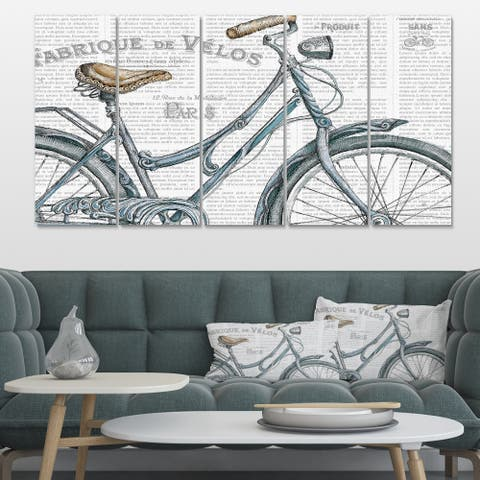 Designart 'Paris France Bicycles III' French Country Premium Canvas Wall Art