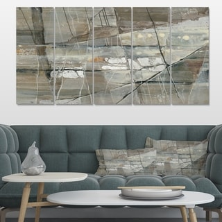 Designart 'Silver and Beige Abstract Waterpainting' Contemporary Canvas Art