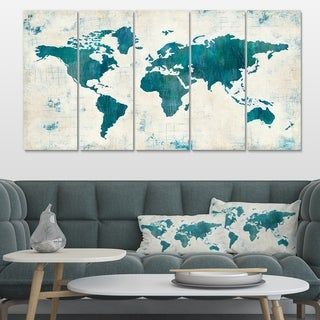 Designart 'Discover the World Map in Blue' Traditional Canvas Artwork