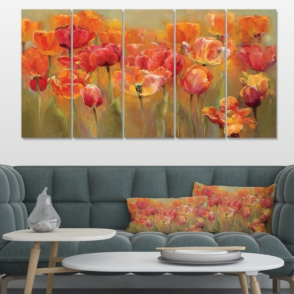 Designart 'Red Handpainted Tulips' Traditional Gallery-wrapped Canvas
