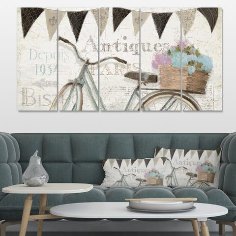 Designart 'French Bicycle Flea Market II' Vintage Transportation Gallery-wrapped Canvas