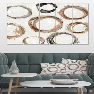 Designart 'Geometric Circle Natural Balance  I' Mid-Century Modern Transitional Premium Canvas Wall Art