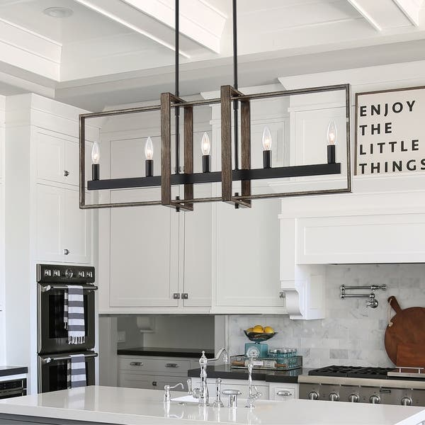 Vanity Art Modern Farmhouse Style 5 Light Linear Chandelier Lighting For Kitchen Island Led Pendant Lights