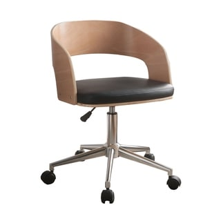 Faux Leather Office Chair Adjustable Height Swivel, Black