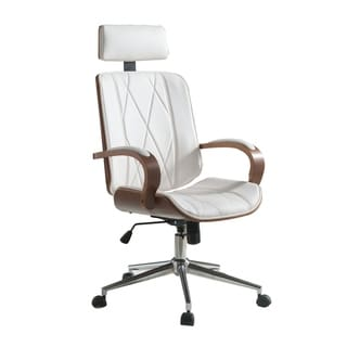 Faux Leather Office Chair Adjustable Height Swivel, White PU & Walnut brown