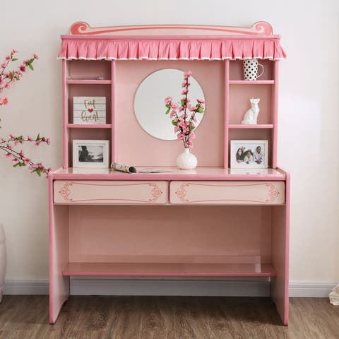 Tassia Pink Mirror Desk with Hutch by FOA