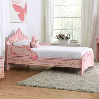 Furniture of America Gosh Cottage Pink Princess Crown Bed