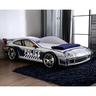 Furniture of America Rixi Modern White Chrome Wheel Car Bed Size - Twin