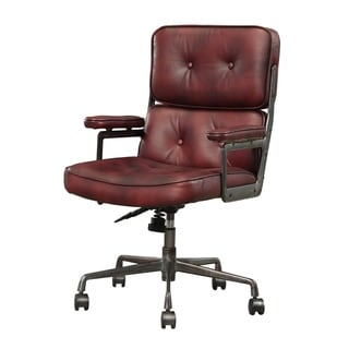 Faux Leather Upholstered Metal Swivel Executive Chair with Armrest, Red and Gray