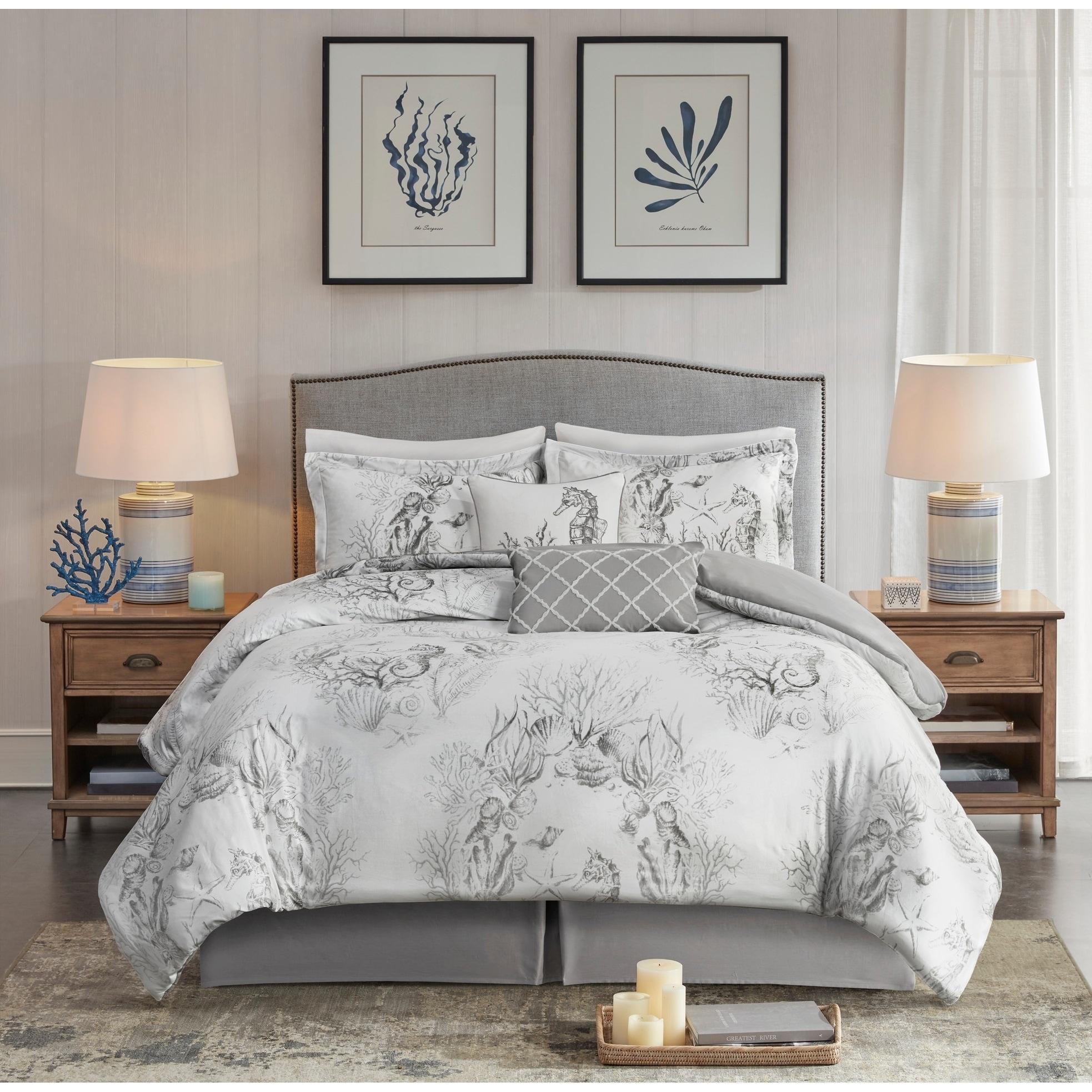 Harbor House Sea Breeze White Grey 6 Piece Cotton Sateen Comforter Set Overstock 29366333