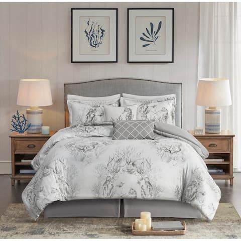 Harbor House Sea Breeze White/Grey 6-Piece Cotton Sateen Comforter set