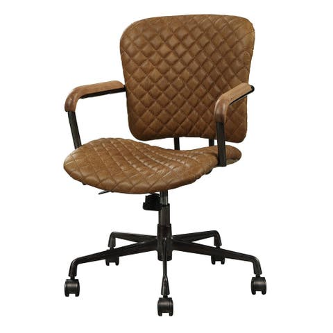 Tufted Leatherette Metal Swivel Executive Chair with Curved Wooden Armrest, Brown and Black