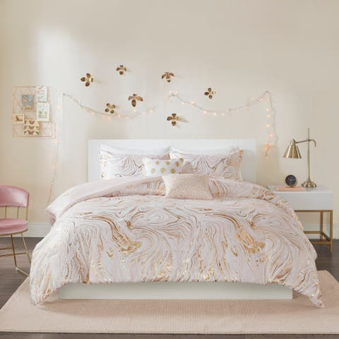 Intelligent Design Natalia Blush/Gold Metallic Printed Comforter Set