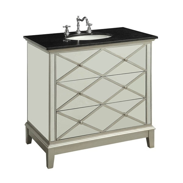 Wooden Framed Mirrored Sink Cabinet with Three Drawers and Marble Top, Black and Silver