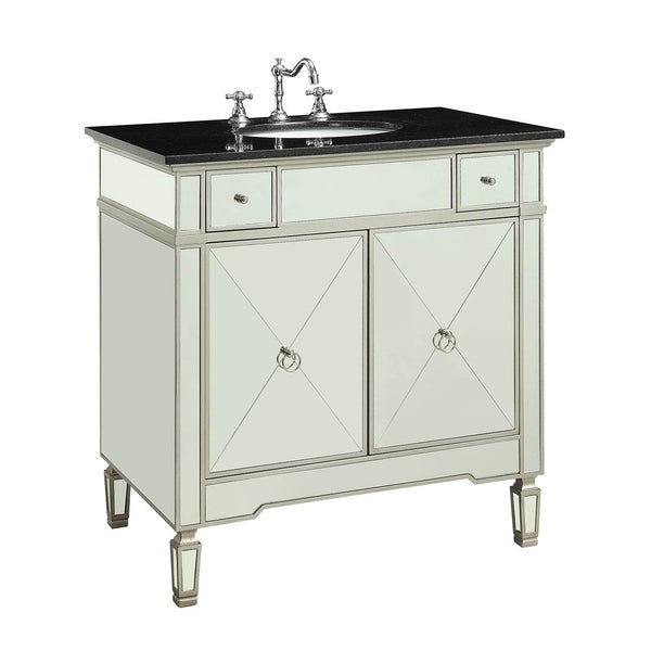 Mirrored Wooden Sink Cabinet with Two Side Drawers and Double Door Storage, Black and Silver