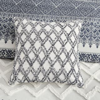 The Curated Nomad Rico Navy Cotton Embroidered Square Pillow