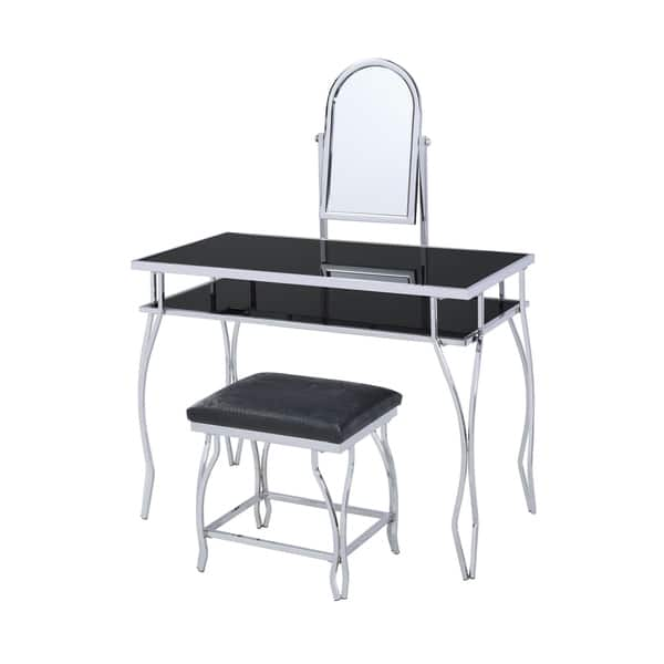 Gl And Metal Vanity Set With Curved Legs