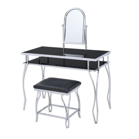 Glass and Metal Vanity Set With Curved Legs and Leatherette Stool