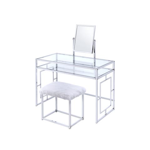 Glass and Metal Vanity Set With Fabric Stool, White and Silver