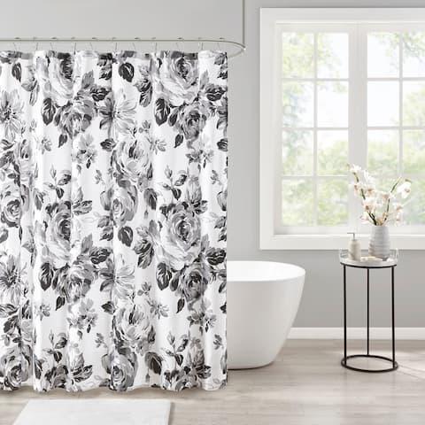 Intelligent Design Renee Black/White Floral Printed Shower Curtain