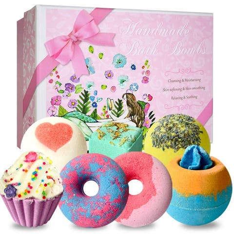 7 Pcs Organic Bath Bombs Gift Set, Handmade Spa Bubble Fizzies - N/A