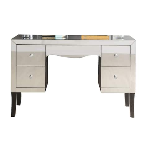 Wooden Framed Mirrored Vanity Desk with Four Drawers and Wavy Apron, Silver