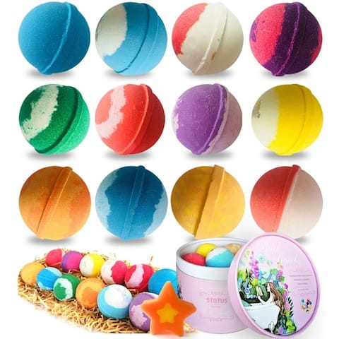 Handmade Organic Spa Bubble Bombs Set of 12 Fizzies with Relaxation - N/A