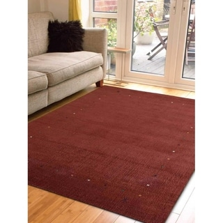 Indian Oriental Solid Color Area Rug Modern Hand Knotted Gabbeh Carpet