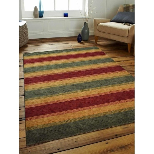 Modern Striped Carpet Indian Oriental Hand Knotted Gabbeh Area Rug