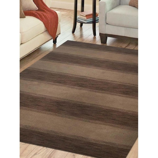Indian Modern Striped Hand Knotted Carpet Oriental Gabbeh Area Rug
