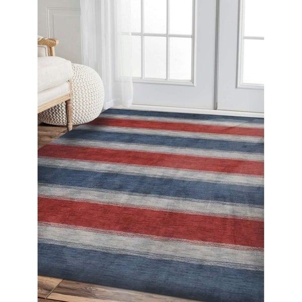Hand Knotted Gabbeh Modern Striped Carpet Indian Oriental Area Rug