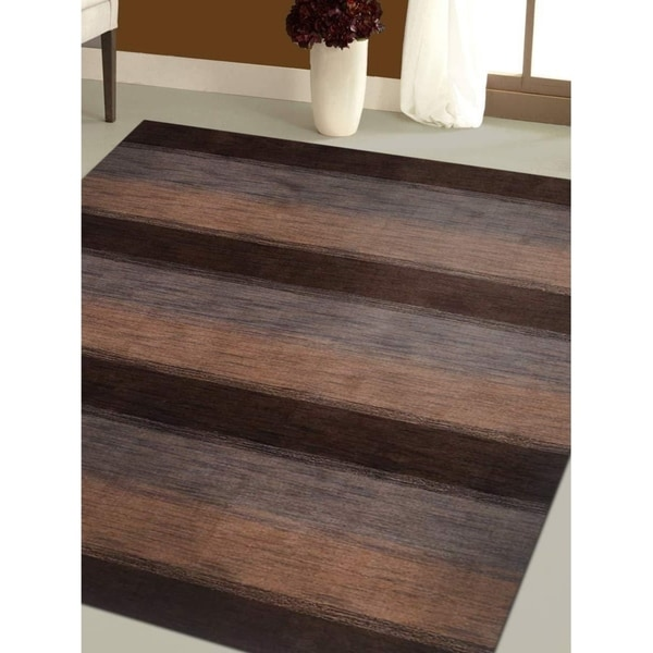 Striped Modern Carpet Indian Oriental Hand Knotted Gabbeh Area Rug