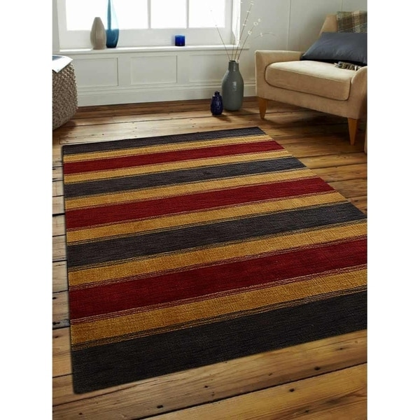 Modern Hand Knotted Gabbeh Carpet Striped Indian Oriental Area Rug