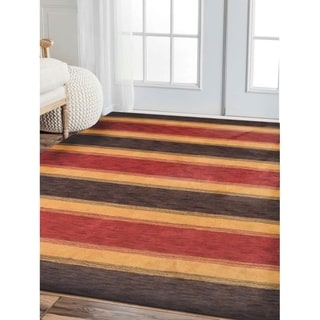 Striped Hand Knotted Modern Gabbeh Carpet Indian Oriental Area Rug