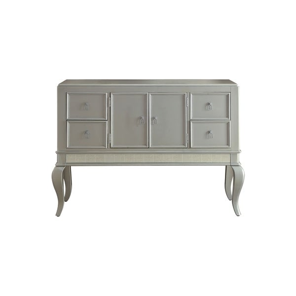 Wooden Server with Four Drawers and Mirror Accents, Champagne Silver
