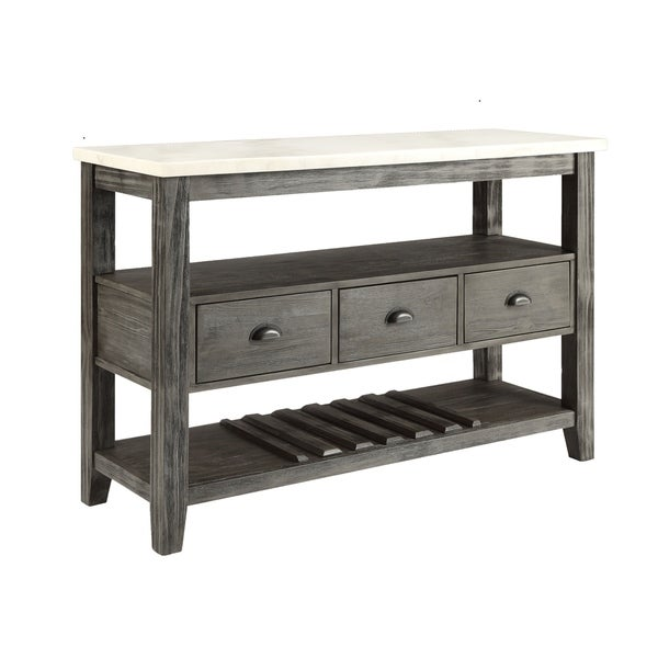 Traditional Style Wooden and Marble Server with Three Drawers, White and Gray