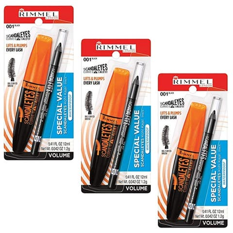 (3 Pack) Rimmel, ScandalEyes Curve Alert Mascara with ScandalEyes Waterproof Kohl Kajal Liner, 0.41 Oz