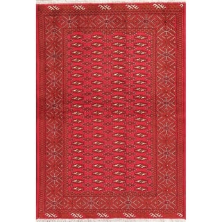 """Traditional Worn Vintage Bokhara Hand Knotted Wool Pakistani Area Rug - 6'1"""" x 4'2"""""""