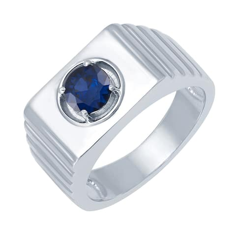 Sterling Silver with Blue Sapphire Men's Solitaire Ring