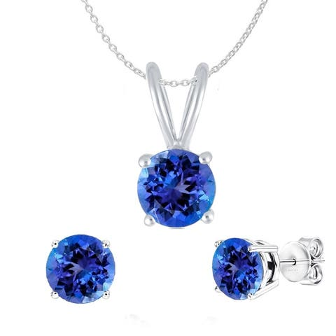 """Set of Sterling Silver Pendant and Earring in Natural Tanzanite with 18"""" Chain"""