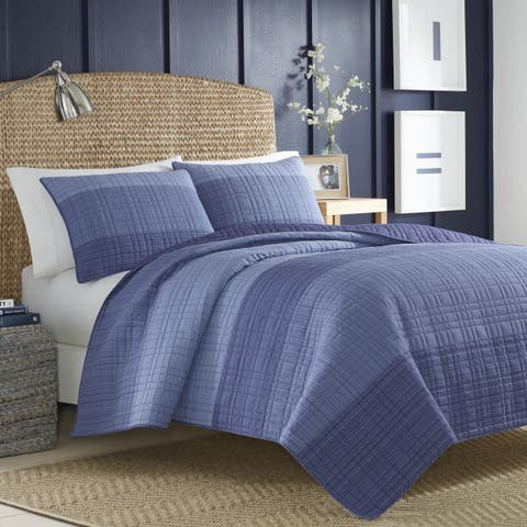 Nautica Riverview Cotton Full/Queen Size Quilt or Sham in Navy (As Is Item)