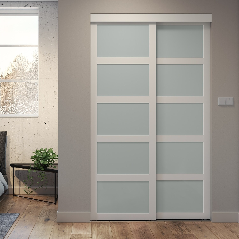 5 Lite Indoor Studio 72 In X 80 5 In Mdf With Vinyl Frame And Frosted Glass Sliding Closet Door White Overstock 29367345