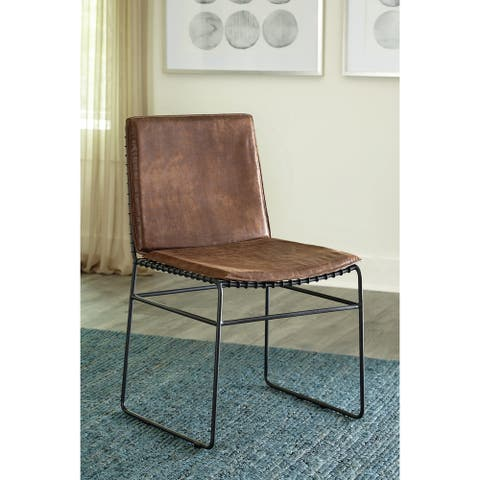 Sherman Antique Brown and Matte Black Upholstered Dining Chairs (Set of 2)