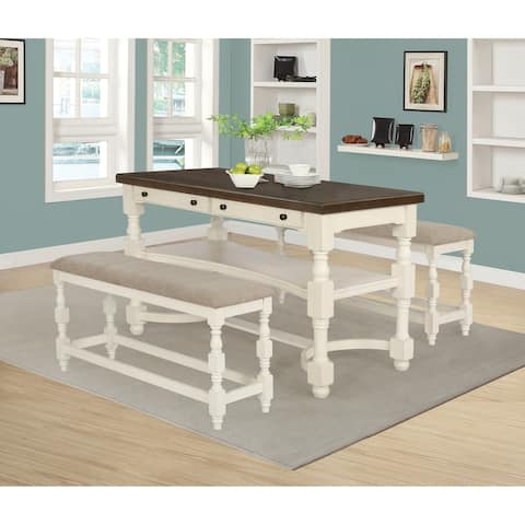 Clanton Antique Cream and Espresso 2-drawer Counter Height Table