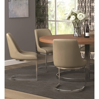 Marino Taupe and Chrome Upholstered Dining Chairs (Set of 2)