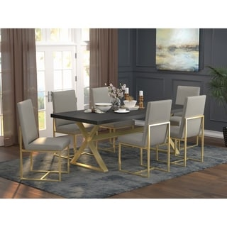 Strick & Bolton Edmiston Grey/ Aged Gold Dining Chairs (Set of 2)